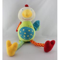Doudou musical et lumineux oiseau poule multicolore BABYSUN