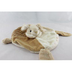 Doudou plat rond lapin beige blanc MAXITA