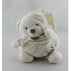 Doudou et compagnie bio ours blanc beige fleurs coeur