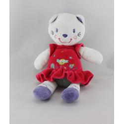 Doudou chat robe rose rouge oiseau NICOTOY