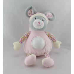 Doudou veilleuse souris grise rose feuille GIPSY