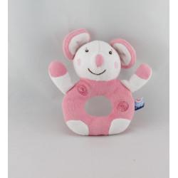 Doudou hochet souris rose SUCRE D'ORGE