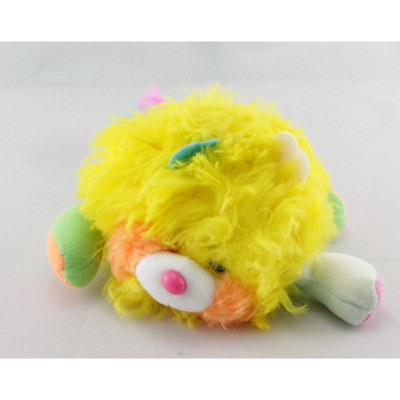 Mini Peluche Popples jaune rose année 1986