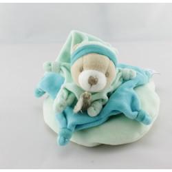 Doudou et compagnie ours bleu vert col étoile carambole