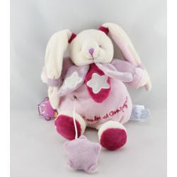 Doudou et compagnie photoluminescent lapin rose étoiles