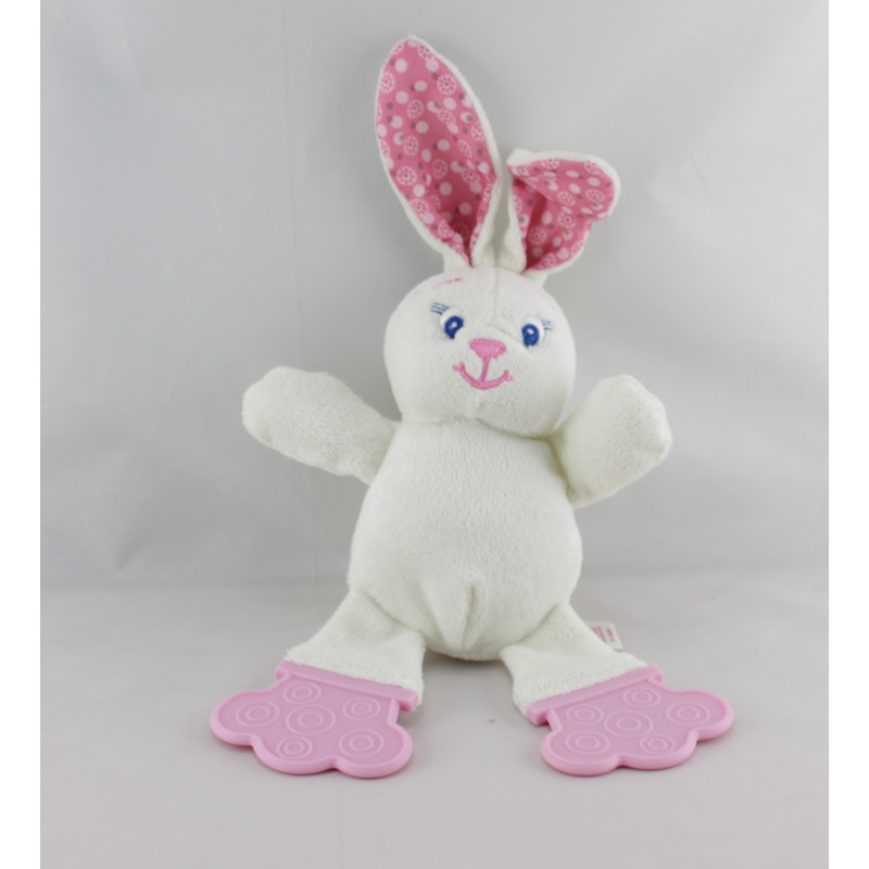 Doudou lapin blanc rose dentition BRIGHT STARTS