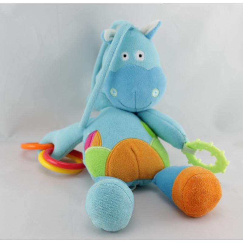 Doudou cheval ponezy ane bleu hochet BAWI