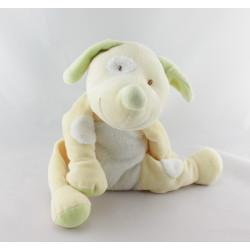 Doudou chien jaune vert collier bleu KIABI