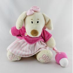 Doudou chien robe rose fleurs champignon MARE MAMA