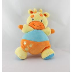 Doudou girafe orange bleu jaune grelot BABY SMILE NEUF