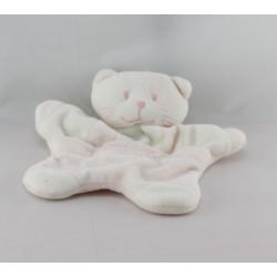 Doudou plat chat blanc rose SUCRE D'ORGE