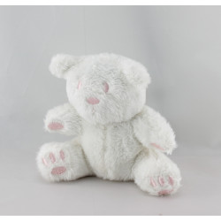 Doudou ours blanc rose AUCHAN