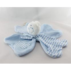 Doudou plat fleur ours bleu rayé FILOUDOU