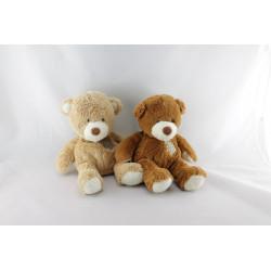 Doudou ours marron et ours beige rapiécé