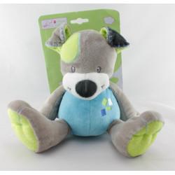 Doudou chien gris bleu vert MANON ET VALENTIN