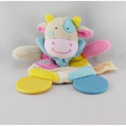 Doudou plat vache beige jaune bleu rose dentition BABY NAT