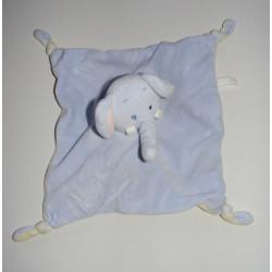 Doudou plat réversible bleu jaune souris éléphant LILLIPUTIENS
