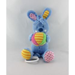 Doudou musical lapin bleu balle CASINO