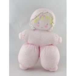 Ancien Doudou poupée tissu rose pois COROLLE