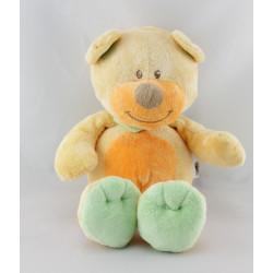 Doudou ours orange vert bleu BENGY