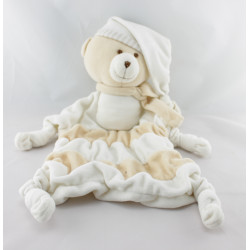 Doudou plat ours blanc beige BABOU