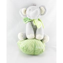 Doudou musical éléphant gris vert blanc TITOUTAM