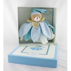Doudou et compagnie collector ours plat fleur pétale bleu et blanc avec boite