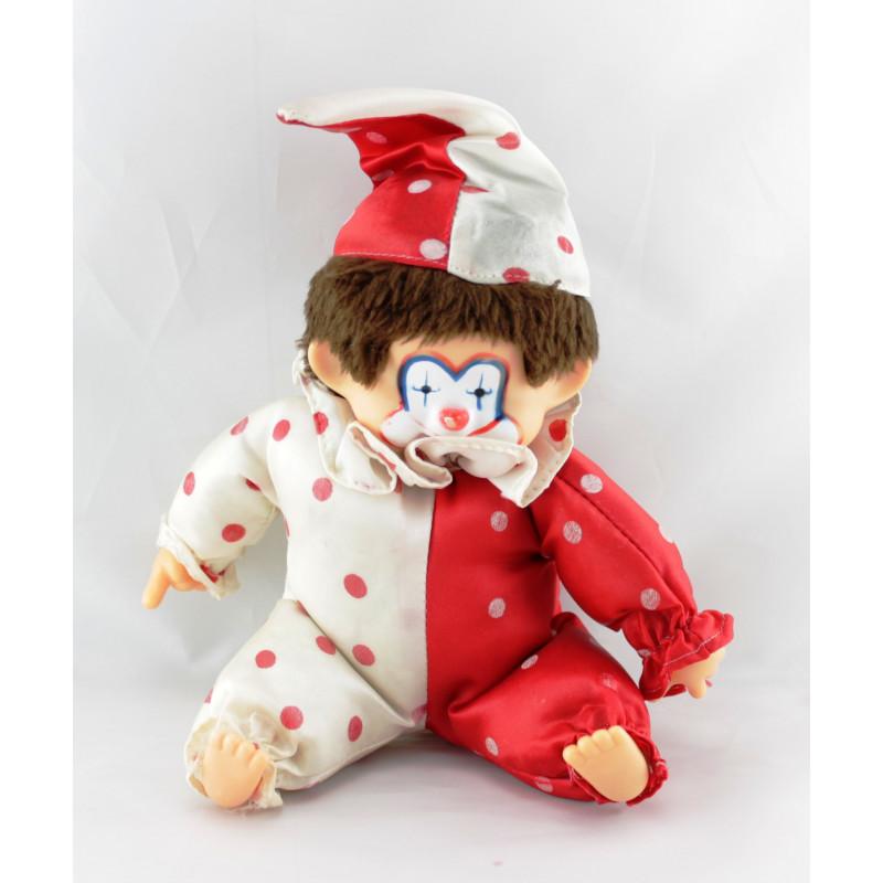 Ancienne Peluche Singe Kiki clown rouge et blanc pois
