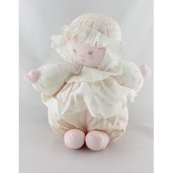 Doudou poupée chiffon robe rose rayé pois COROLLE MEUNIER