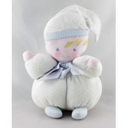 Doudou poupée lutin chiffon blanc bleu pois COROLLE MEUNIER