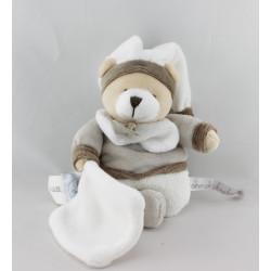 Doudou et compagnie ours blanc beige marron mouchoir Graines de doudou