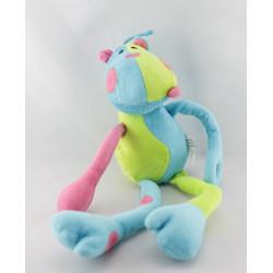 Doudou chien bleu vert rose AUCHAN