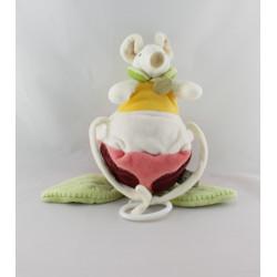 Doudou et compagnie musical souris dans une fleur rose bordeaux