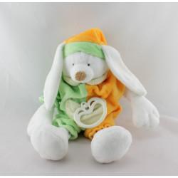 Doudou musical Lapin blanc vert orange LASCAR