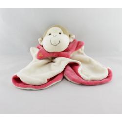 doudou plat marionnette SINGE blanc rose EGMONT TOYS