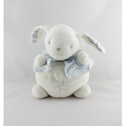 Doudou boule lapin blanc bleu rayé JACADI