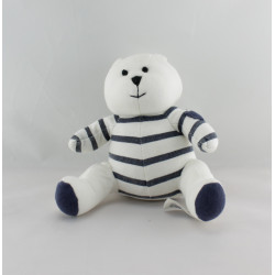 Doudou ours blanc rayé bleu marine BABY GAP