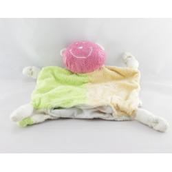 Doudou  plat chat rose vert jaune VIBEL