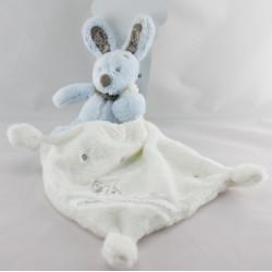 Doudou plat lapin bleu gris mouchoir blanc NICOTOY