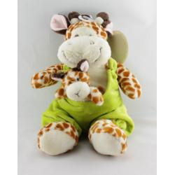 Doudou Girafe salopette verte bébé Nicotoy