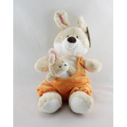 Doudou lapin salopette orange bébé Nicotoy