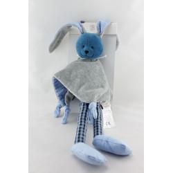 Doudou plat lapin bleu gris THEO ET INES