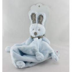 Doudou plat lapin bleu foulard gris NICOTOY