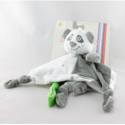 Doudou plat panda gris blanc BELLODOUX
