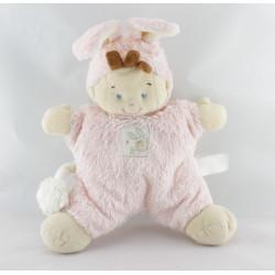 Doudou semi plat garçon déguisé en lapin rose NICOTOY