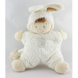 Doudou semi plat garçon déguisé en lapin blanc NICOTOY
