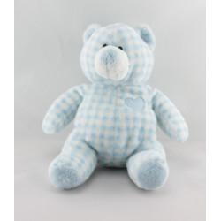 Peluche ours vichy bleu coeur AJENA