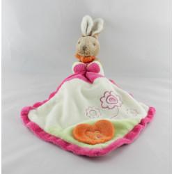 Doudou lapin mouchoir rose blanc vert coeur TOODO