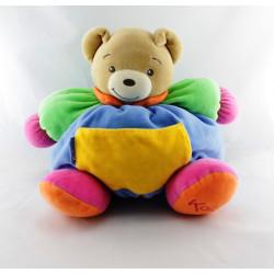 Doudou ours patapouf bleu vert rose poche jaune KALOO