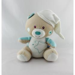 Doudou ours beige blanc bleu étoile SUCRE D'ORGE